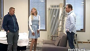 Two porters provide naughty German nympho Kitty Blair with hardcore DP