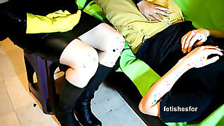 Milf hj rubber gloves leather mini skirt leather shoes dick tease
