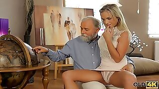 Old dad spends wonderful time anal sex with adorable blonde