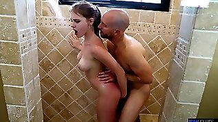 Busty teen girl welcomes step daddy in the shower with her