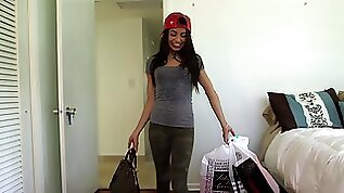 Veronica Rodriguez sucks and fucks her lads cock after shopping