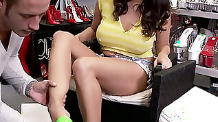 Alluring brunette gal Missy Martinez gets her feet worshiped in shoe store