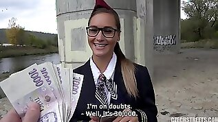 Stewardess Blowing Cock for cash public outdoor