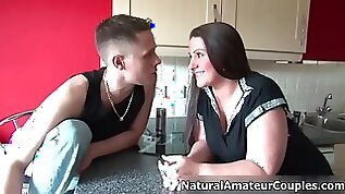 Awesome chubby milf with huge natural tits gets horny
