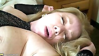 Black monster dick buried in a fat white mature pussy