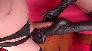 Inept sissy man worships mistress and masturbate with her boots