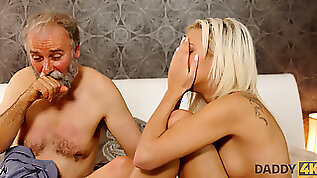 Chick Ria Sun opens her mouth to suck old dads cock