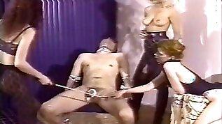 Merciless mistresses team up to make a slaves cock hurt bad