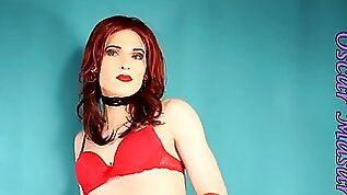 Redhead in red lingere high heels vintage stockings