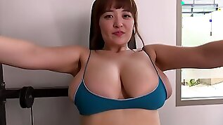 Outdoor fitness and pool solo with buxom Japanese Big Asian tits in bikini