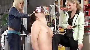 Puppy slave dick trampled and spanked in a public shop