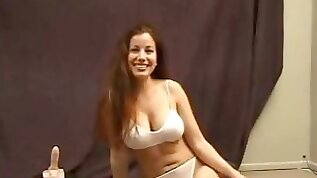 Busty amateur college babe riding Sybian in arousing solo video