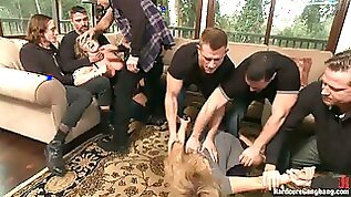Blondes Andrea Acosta and Vicky Vixen Sharing Eight Cocks in Gangbang