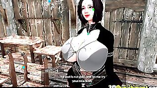Futanari witch fucks huge tits 3D babe