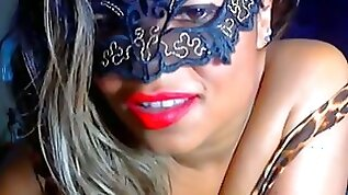 Sweet and sultry dark skin hot girl in the mask teases me