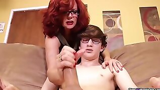 Mature Andi James teasing huge cock of stepson