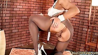Denise masino rips through pantyhose