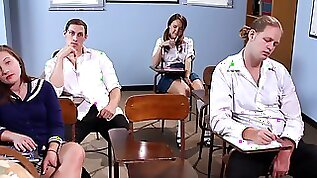Schoolgirl Dillion Harper gets and fucked after squirting all over the class