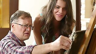 Cute student Sintia fucked busted by her creepy old art teacher