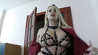 Mega busty amateur blonde in leather straps lingerie Angel Wicky gives a blowjob and footjob