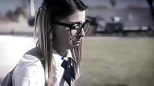 Nerdy school teen fucking in her first DP sex