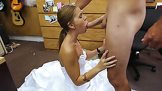 Slutty blonde euro babe Abby poses her fat pussy for cash