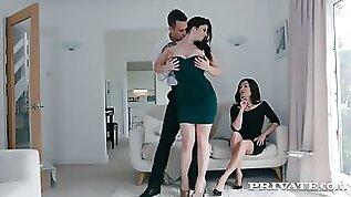 British wife Lucia Love enjoys watching how her husband fucks curvy busty hooker