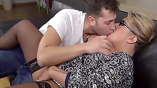 Blonde BBW Takes Young Cock And Eats Cum
