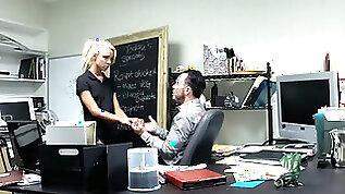 Hidden camera films sexy blonde fucking her boss in the office