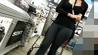 Big ass and cameltoe of girl with pigtails