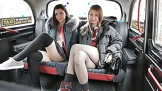 Hot looking chicks Cherry Kiss Hayli Sanders and Dominic Anna fuck in the car