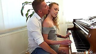 Nice pianist Angel Emily is making love porn with her teacher for the first time