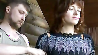 Slutty Russian lady is eager to be tied up and fixated to the post