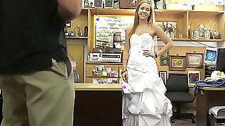 Hot blonde euro babe in wedding gown drilled by pawn keeper