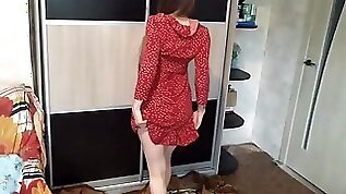 Hard anal fuck the wife in red dress