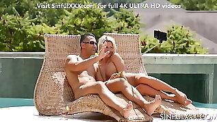 AMAZING pool side threesome sex