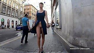 Naughty Lada Slit flash in Public