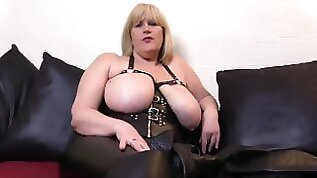 Leather Clad Big Tit Milf will get you hard as she instructs you to lick her Boots
