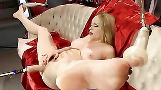Fuck machine will drill the blondes moist pussy until she cums hard