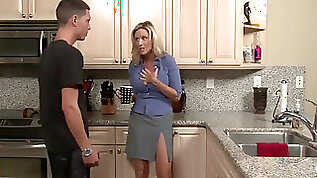 Mommy loves her stepson with dick in kitchen