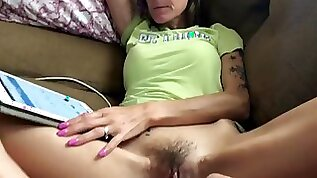 Skinny wife fucking with her hairy pussy unknowingly injected with sperm