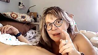Mature busty wife sucks and rides hubbys cock with tits out