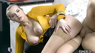 Blonde masturbating with tits sensational pussy action in POV