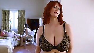 Redhead mom with big tits hairy cunt