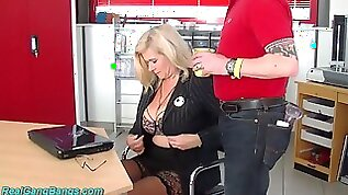 Wild huge breasted warehouse secretary Marina Montana is fucked by studs