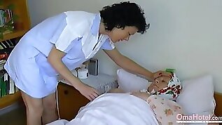 Fat granny seduces a nurse into having sex with her