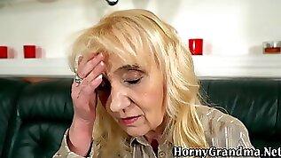 Slutty granny gives head