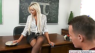 Mature and majestic blonde professor sucks his dick fucks a student