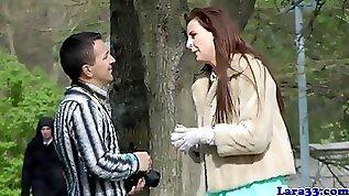 High heeled British MILF seduces customer to nail her