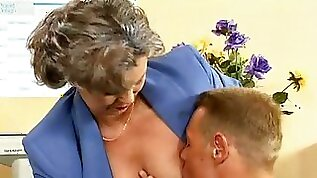 Crazy old mom gets cock and gets fucked and office blowjob sex